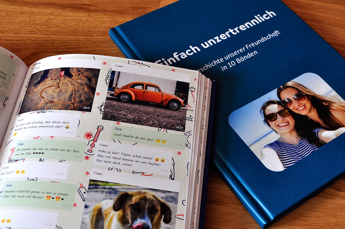 WhatsApp Book from zapptales. Pictures of our printed chatbooks.