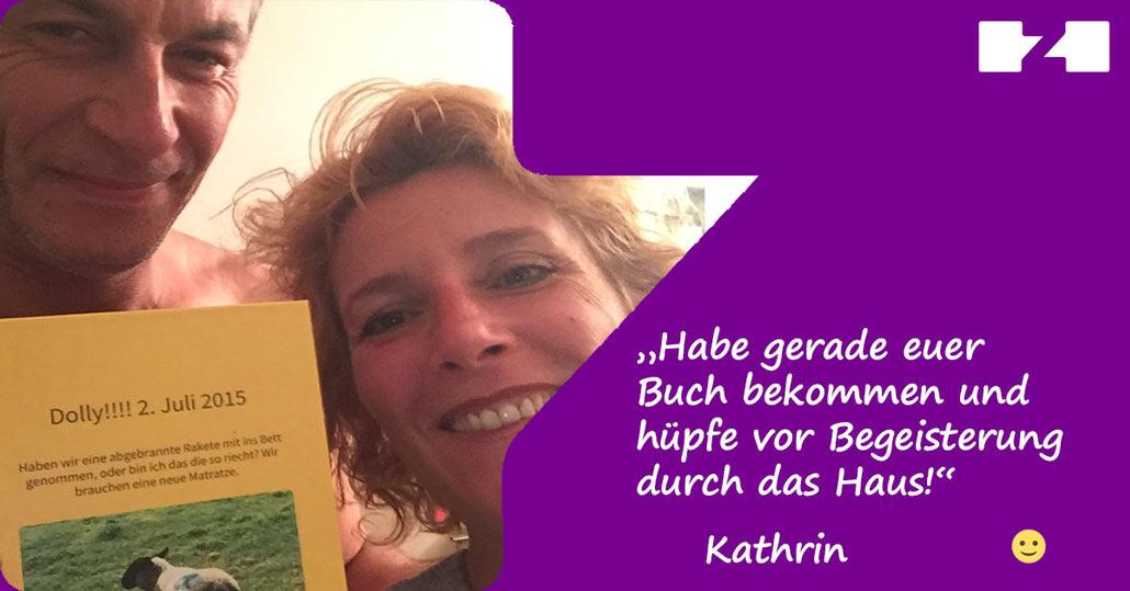 Unsere begeisterte Kundin Kathrin mit ihrem zapptales Buch