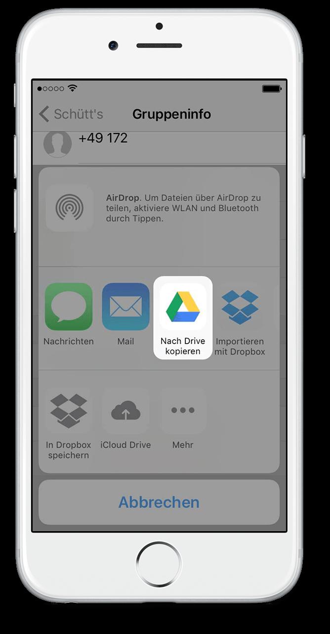 WhatsApp Chat Export mit Google Drive Scritt 5