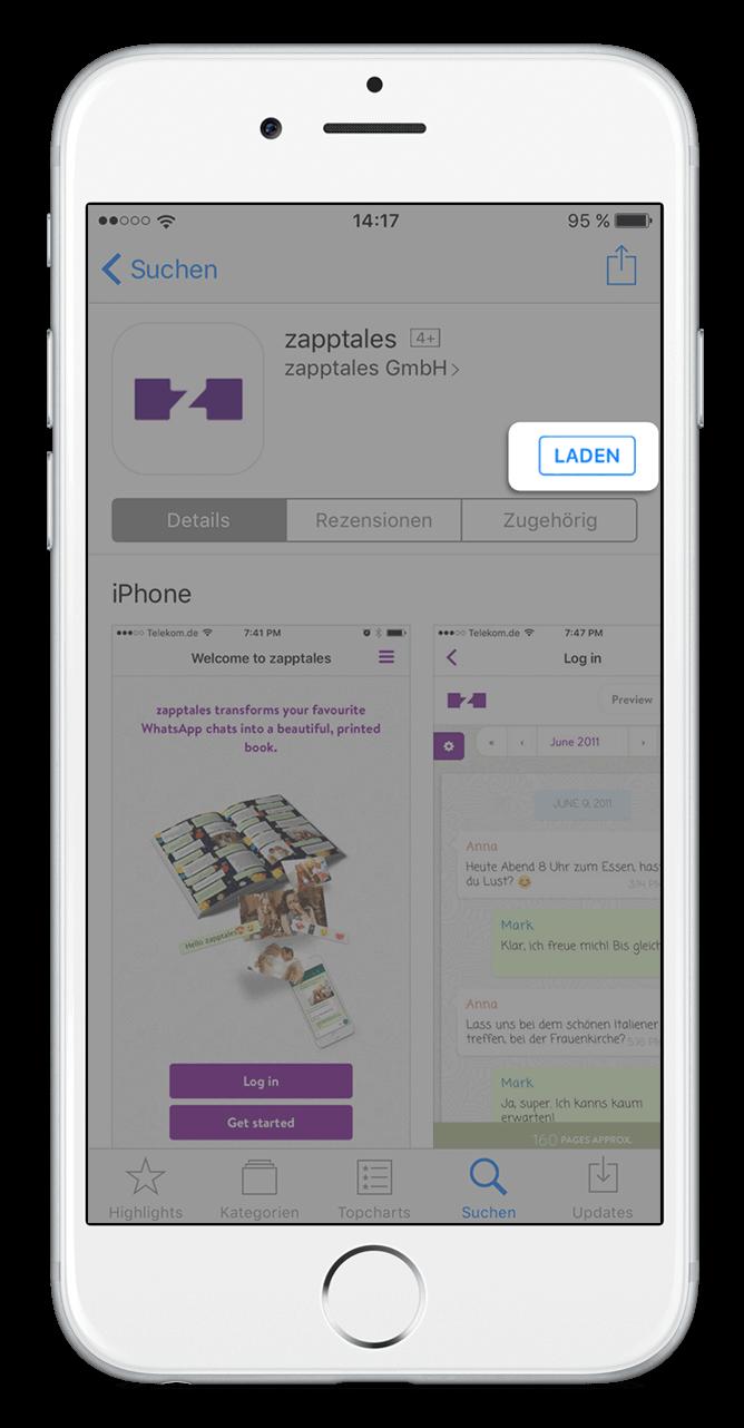 Schritt 1 bei der zapptales app. App Download.