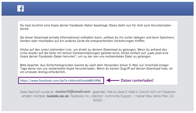 Facebook Daten runterladen für zapptales