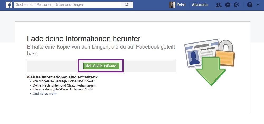 Facebook Daten für Buch runterladen