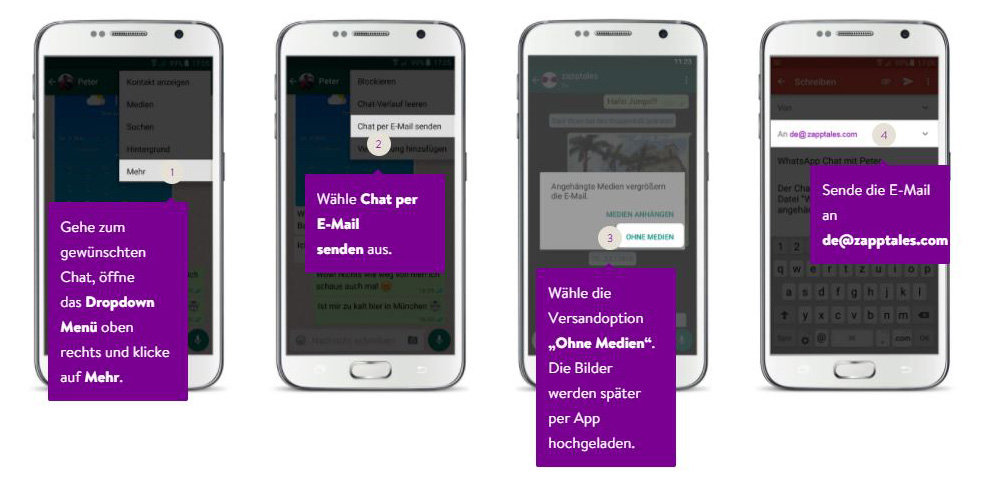 WhatsApp Chat Export ohne Medien unter Android