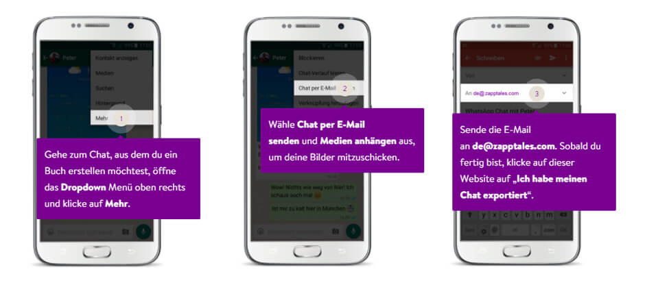 WhatsApp Chat Export mit Medien unter Android