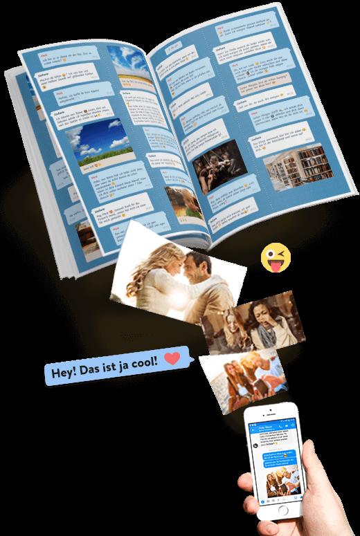 Facebook Messenger Chat als Buch mit zapptales