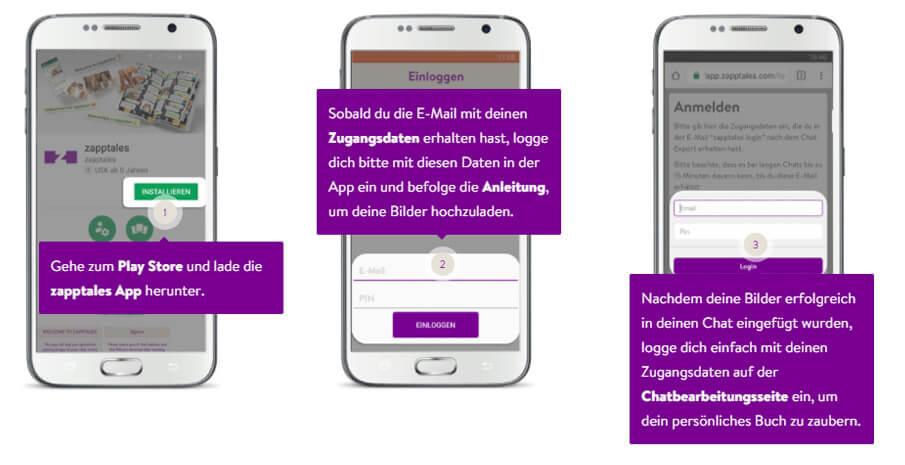 zapptales App Installation und Login zur Chatbearbeitungsseite