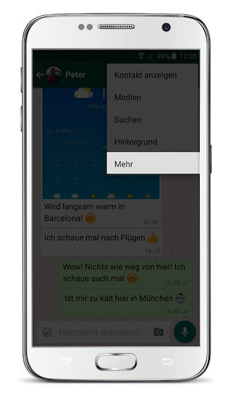 WhatsApp Chat exportieren Android Schritt 1