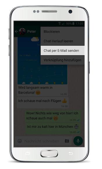 WhatsApp Chat exportieren Android Schritt 2