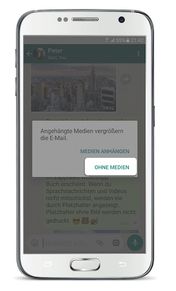 WhatsApp Chat exportieren Android Hinweis ohne Medien