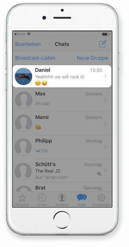 WhatsApp Chat Export via iCloud für iPhone Schritt 1