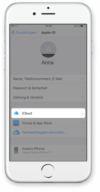 Intro iCloud für WhatsApp Chat Export E-Mail Schritt 2