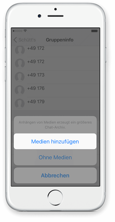 WhatsApp Chat Export via iCloud für iPhone Schritt 4