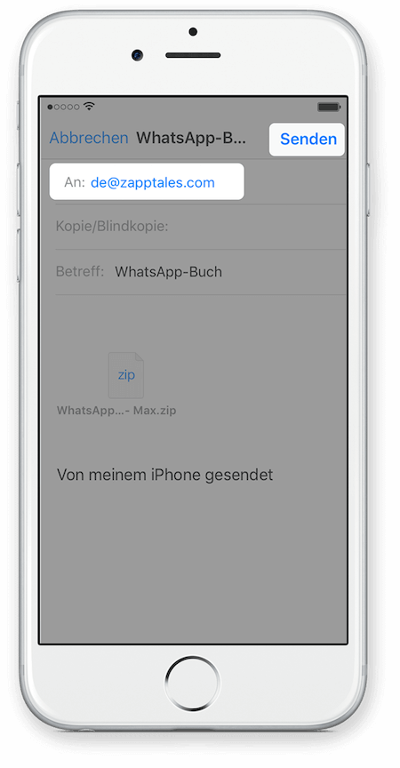 WhatsApp Chat Export via iCloud für iPhone Schritt 6