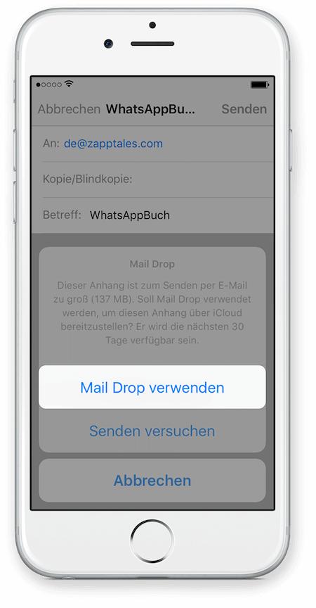 WhatsApp Chat Export via iCloud für iPhone Schritt 7