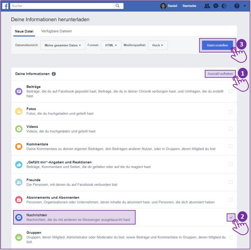 Facebook Messenger Chat speichern - Schritt 2 auf Desktop