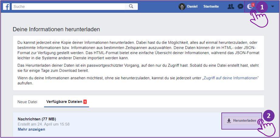 Facebook Messenger Chat speichern - Schritt 3 auf Desktop