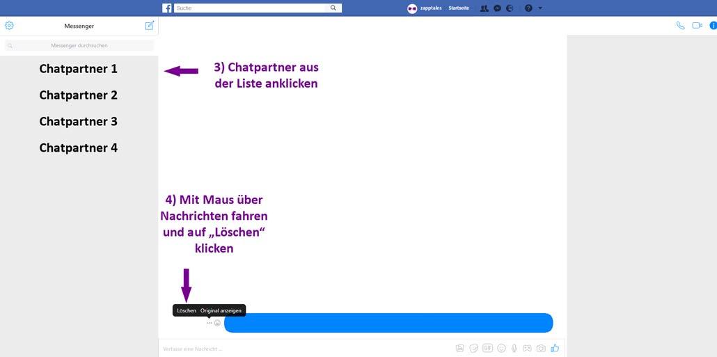Facebook Nachrichten löschen - 3 Schritt auf Desktop