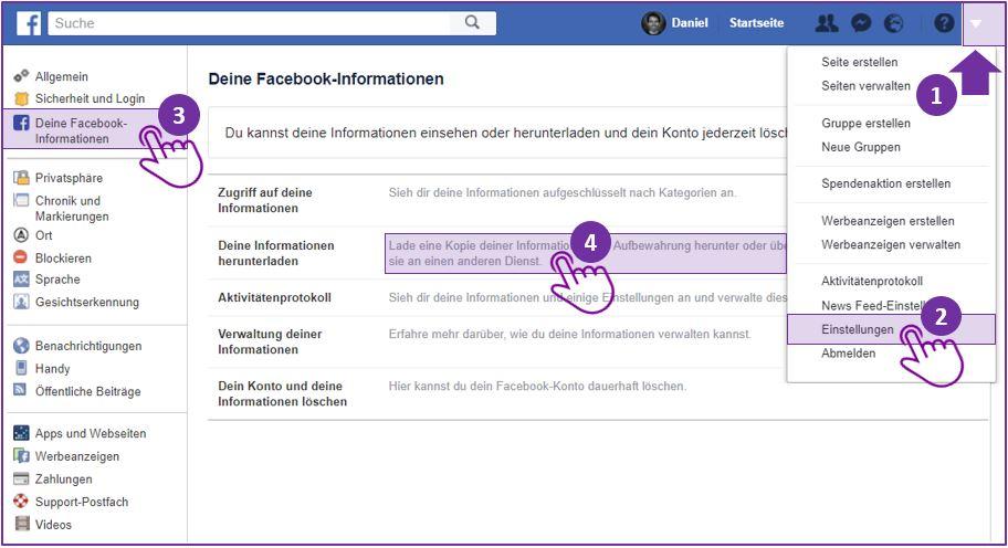 Facebook Messenger Chat speichern - Schritt 1