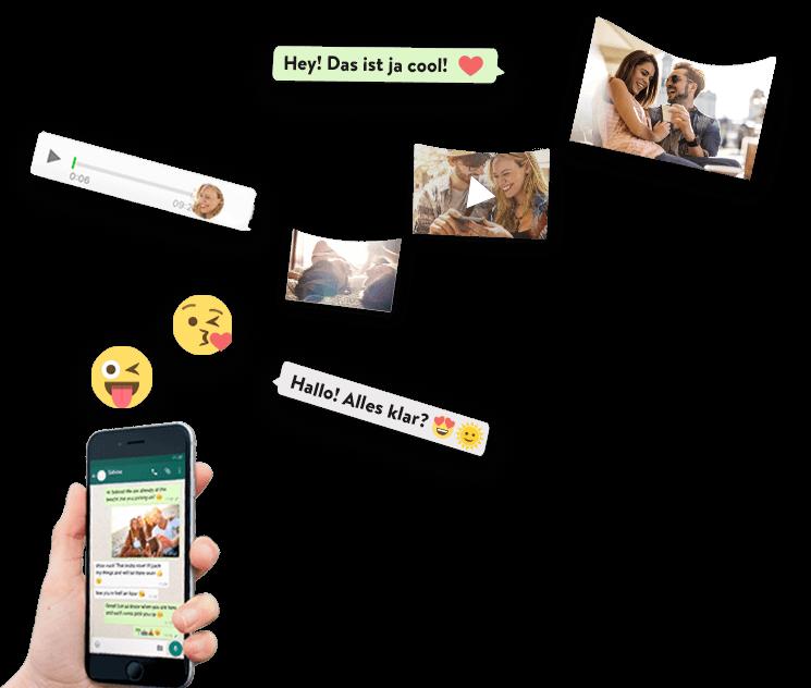 WhatsApp Nachrichten fliegen vom Smartphone in ein zapptales Buch
