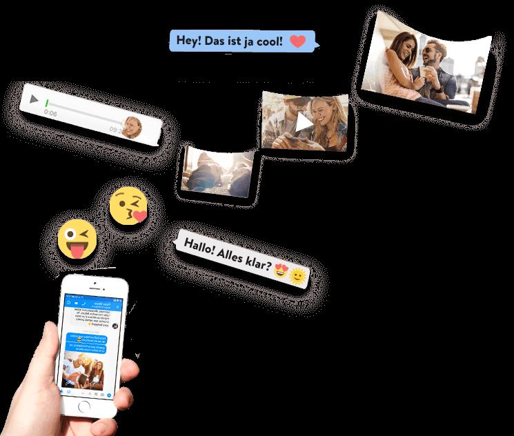 Facebook Messenger Nachrichten fliegen vom Smartphone in ein zapptales Buch