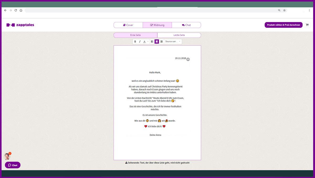 zapptales Widmung schreiben auf dem Desktop