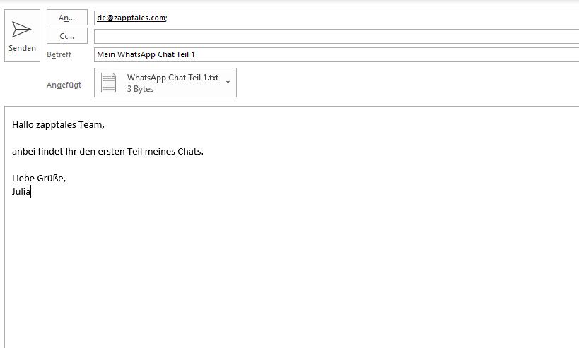 Chat per E-Mail an zapptales senden