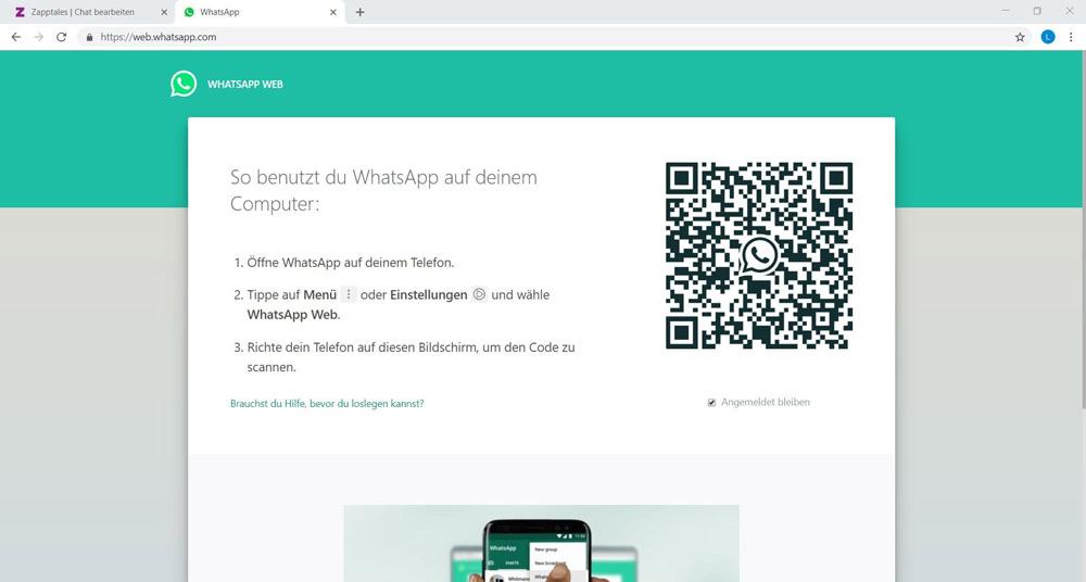 Screenshot von der WebWhatsApp Desktopseite