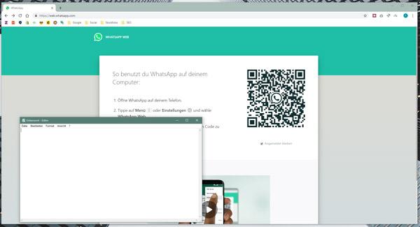 WhatsAppWeb und Text-Editor öffnen