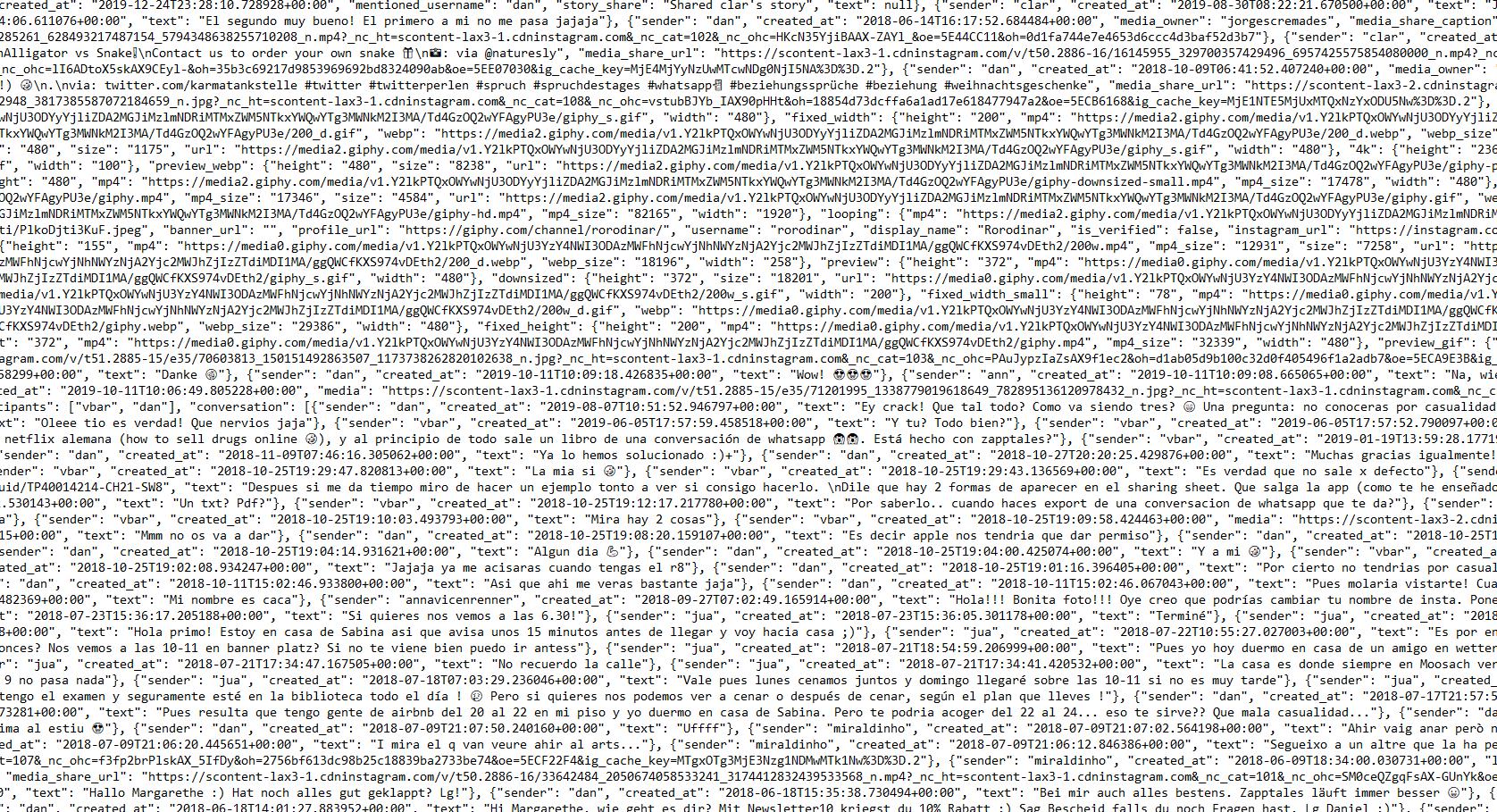 Instagram Chat in einer json-Datei
