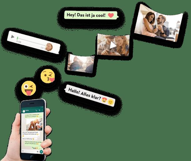 WhatsApp Nachrichten fliegen vom Smartphone in ein zapptales WhatsApp Chat Buch