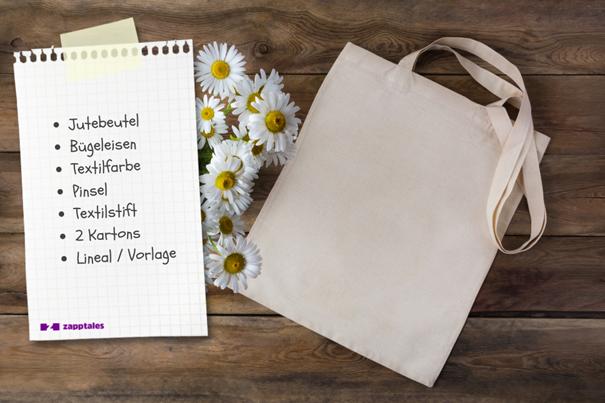 Jutebeutel mit Materialliste für DIY-Geschenk.