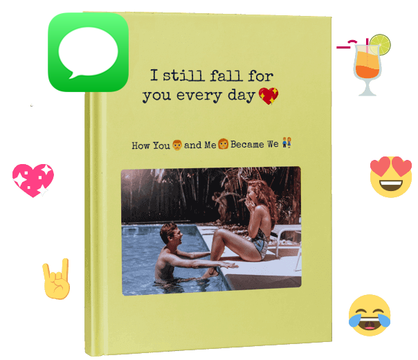 Your imessage chat love story as a book