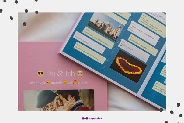 Chat Buch mit blauem Hintergrund.