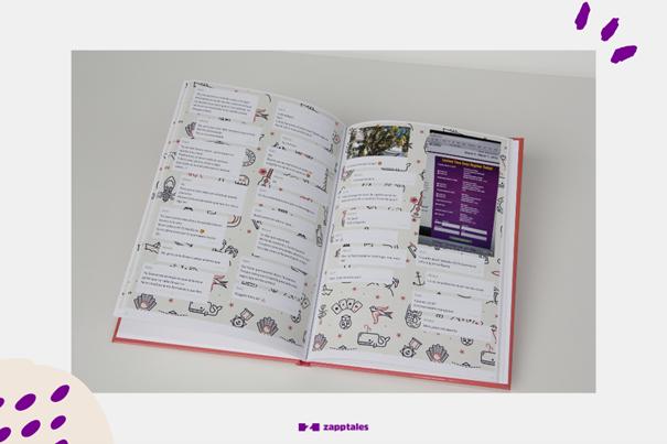 Chat Buch mit verspieltem Hintergrund in dezentem creme.